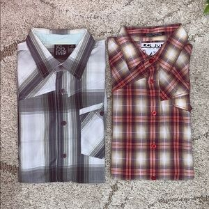 Lot of 2 Volcom Plaid Button Down Shirts